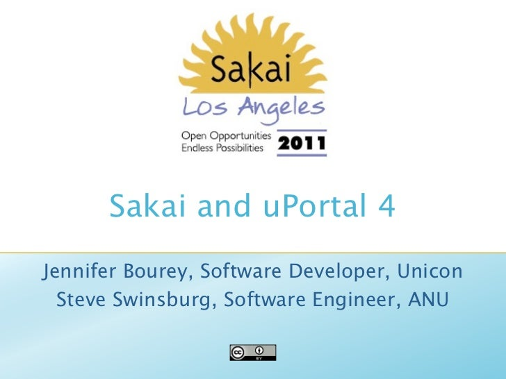 Sakai and uPortal 4Jennifer Bourey, Software Developer, Unicon  Steve Swinsburg, Software Engineer, ANU