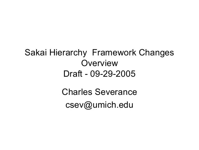 Sakai Hierarchy Framework Changes Overview Draft - 09-29-2005 Charles Severance csev@umich.edu
