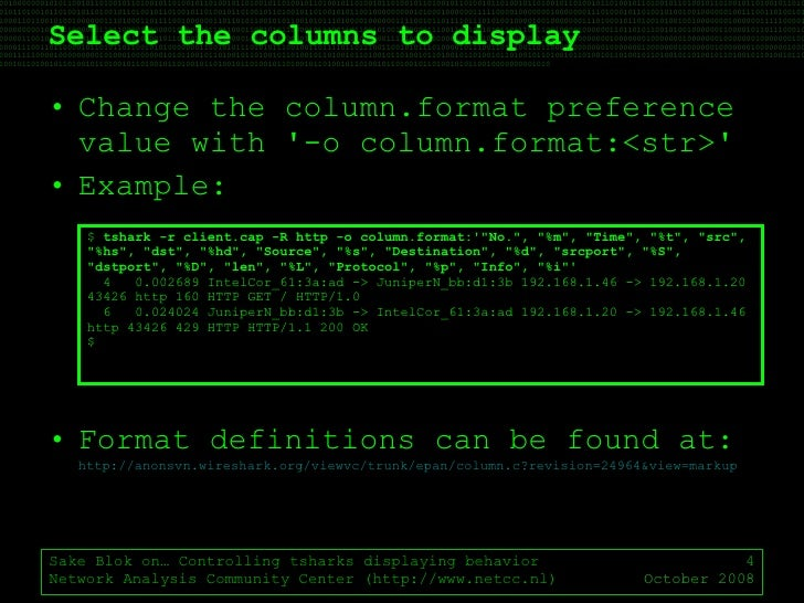 Ostu Sake Blok On Controlling Tshark Display Format