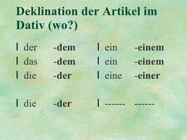 Deklination der Artikel  im Dativ (wo?) <ul><li>der - dem </li></ul><ul><li>das - dem </li></ul><ul><li>die - der </li></u...