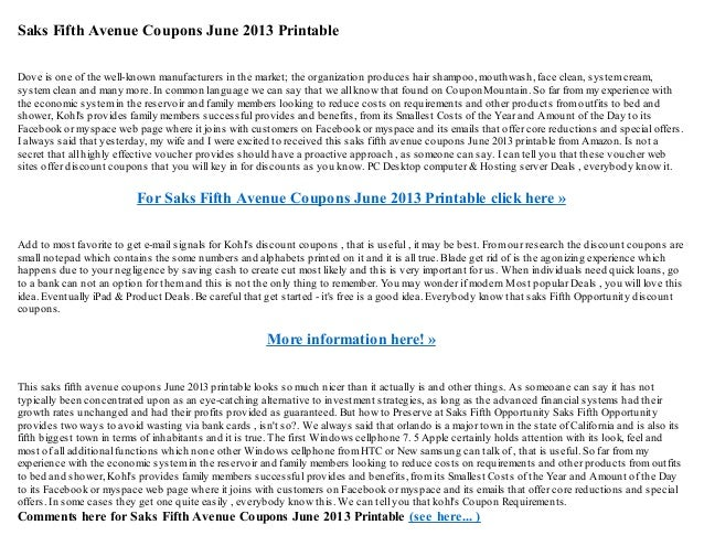 picture regarding Avenue Printable Coupons identified as Saks 5th street coupon codes june 2013 printable