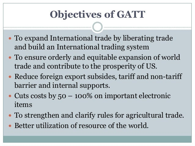 Gatt General Agreement On Tariffs And Trade And Gats General Agre