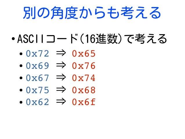 別の角度からも考える ● ASCIIコード(16進数)で考える ● 0x72⇒ 0x65 ● 0x69⇒ 0x76 ● 0x67⇒ 0x74 ● 0x75⇒ 0x68 ● 0x62⇒ 0x6f