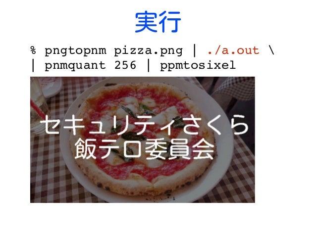 実行 %pngtopnmpizza.png ./a.out  pnmquant256 ppmtosixel