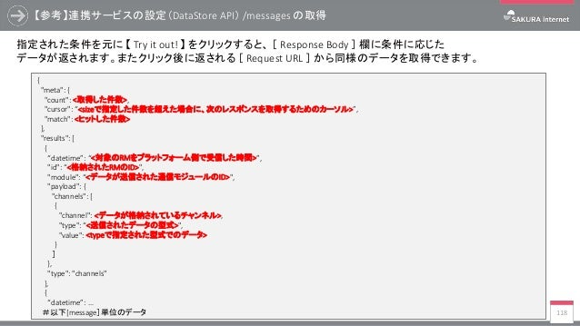 """【参考】連携サービスの設定(DataStore API) /messages の取得 118 { """"meta"""": { """"count"""": <取得した件数>, """"cursor"""": """"<sizeで指定した件数を超えた場合に、次のレスポンスを取得するた..."""