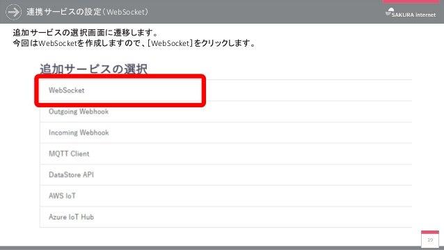 連携サービスの設定(WebSocket) 19 追加サービスの選択画面に遷移します。 今回はWebSocketを作成しますので、[WebSocket]をクリックします。