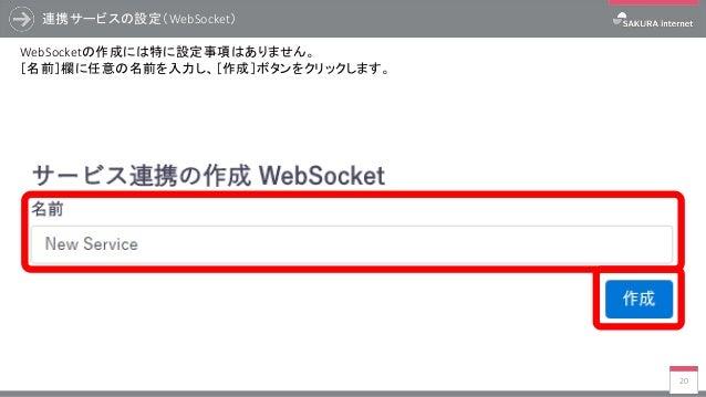 連携サービスの設定(WebSocket) 20 WebSocketの作成には特に設定事項はありません。 [名前]欄に任意の名前を入力し、[作成]ボタンをクリックします。