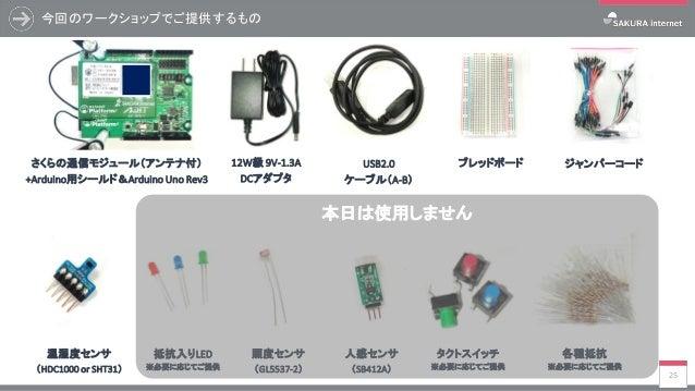 今回のワークショップでご提供するもの 25 ジャンパーコードさくらの通信モジュール(アンテナ付) +Arduino用シールド&Arduino Uno Rev3 USB2.0 ケーブル(A-B) 12W級 9V-1.3A DCアダプタ ブレッドボ...