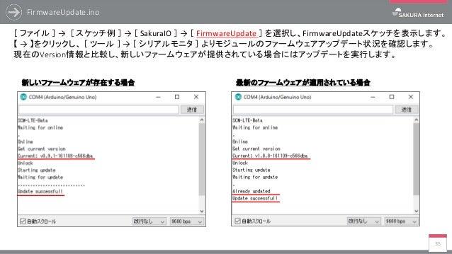 FirmwareUpdate.ino 35 [ ファイル ] → [ スケッチ例 ] → [ SakuraIO ] → [ FirmwareUpdate ] を選択し、FirmwareUpdateスケッチを表示します。 【 → 】をクリックし、...