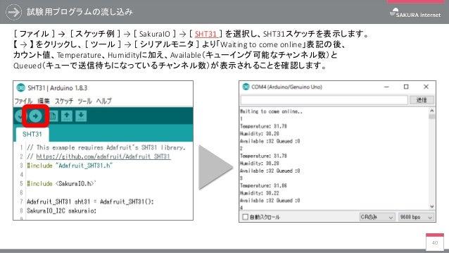 試験用プログラムの流し込み 40 [ ファイル ] → [ スケッチ例 ] → [ SakuraIO ] → [ SHT31 ] を選択し、SHT31スケッチを表示します。 【 → 】 をクリックし、 [ ツール ] → [ シリアルモニタ ]...