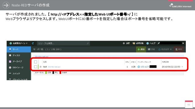 Node-REDサーバの作成 61 サーバが作成されました。 【 http://<IPアドレス>:<指定したWeb UIポート番号>/ 】 に Webブラウザよりアクセスします。WebUIポートに80番ポートを指定した場合はポート番号を省略可能...