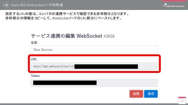 Node-RED WebSocketノードの作成 66 指定するURLの値は、コンパネの連携サービスで確認できる赤枠部分となります。 赤枠部分の情報をコピーして、WebSocketノードのURL部分にペーストします。