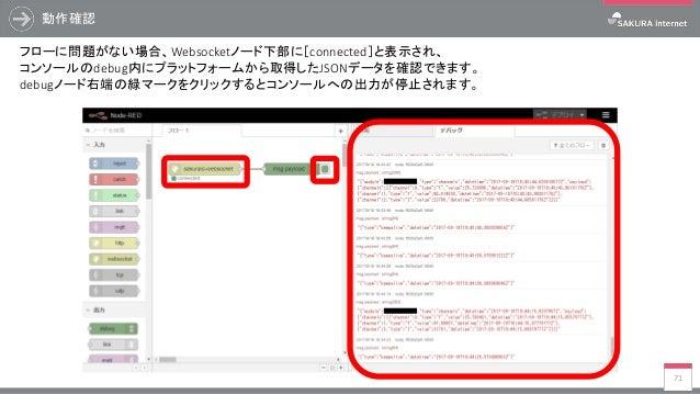 動作確認 71 フローに問題がない場合、Websocketノード下部に[connected]と表示され、 コンソールのdebug内にプラットフォームから取得したJSONデータを確認できます。 debugノード右端の緑マークをクリックするとコンソ...