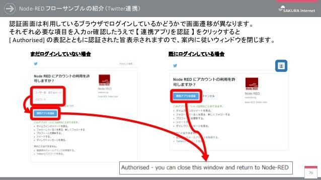 Node-RED フローサンプルの紹介(Twitter連携) 76 認証画面は利用しているブラウザでログインしているかどうかで画面遷移が異なります。 それぞれ必要な項目を入力or確認したうえで 【 連携アプリを認証 】 をクリックすると [ A...