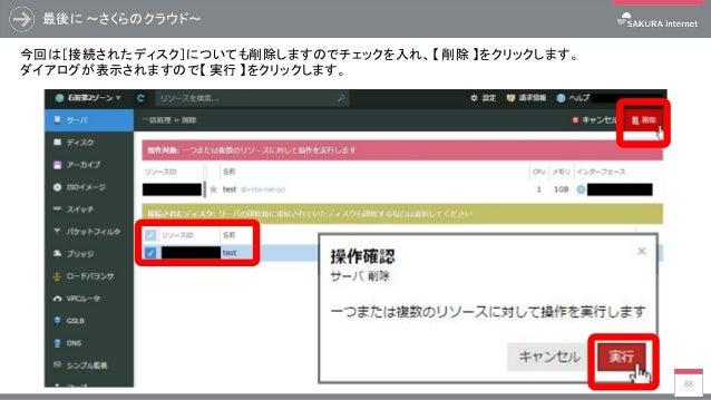 最後に ~さくらのクラウド~ 88 今回は[接続されたディスク]についても削除しますのでチェックを入れ、【 削除 】をクリックします。 ダイアログが表示されますので【 実行 】をクリックします。