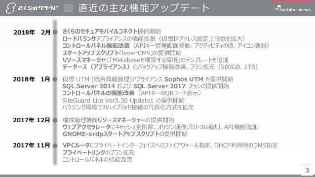 【さくらのクラウド】サービス概要カタログ 2018年3月号  Slide 3