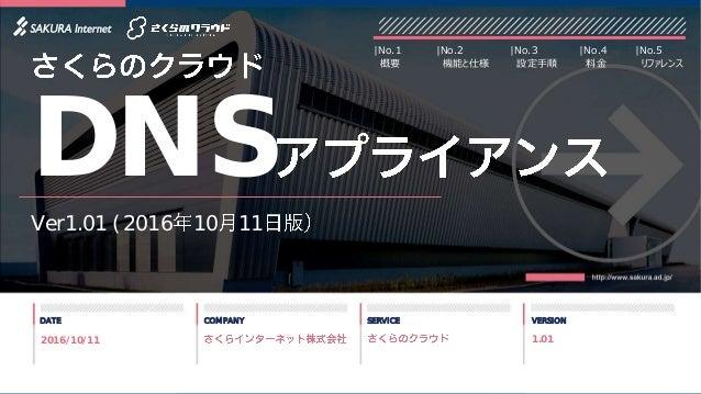 1 DATE COMPANY SERVICE VERSION Ver1.01 (2016 10 11 DNS 2016/10/11 |No.2 機能と仕様 |No.3 設定手順 |No.1 概要 |No.4 料金 |No.5 リファレンス 1....