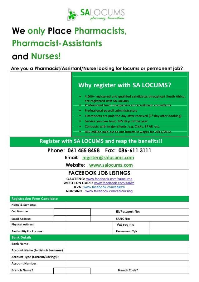 Sa Locums Rn Registration Form