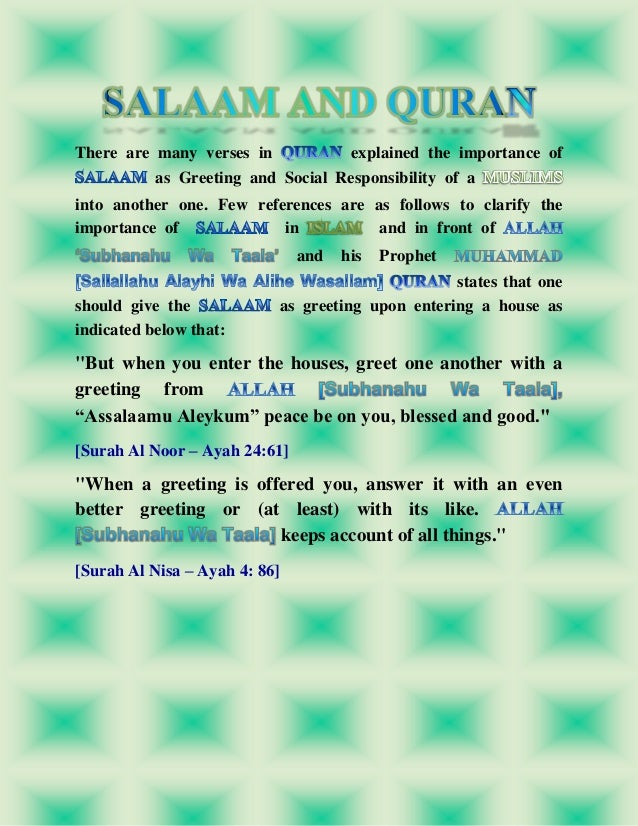 Salaam and its importance in islam 9 m4hsunfo