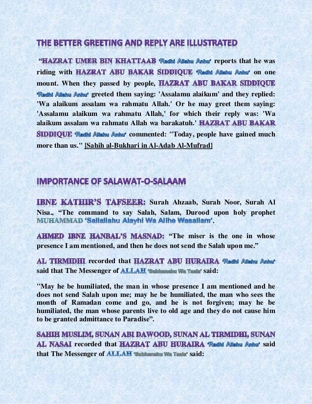Salaam and its importance in islam when they passed by people greeted them saying assalamu alaikum and they repliedwa alaikum assalam wa rahmatu allah or he may greet them sayingassalamu m4hsunfo