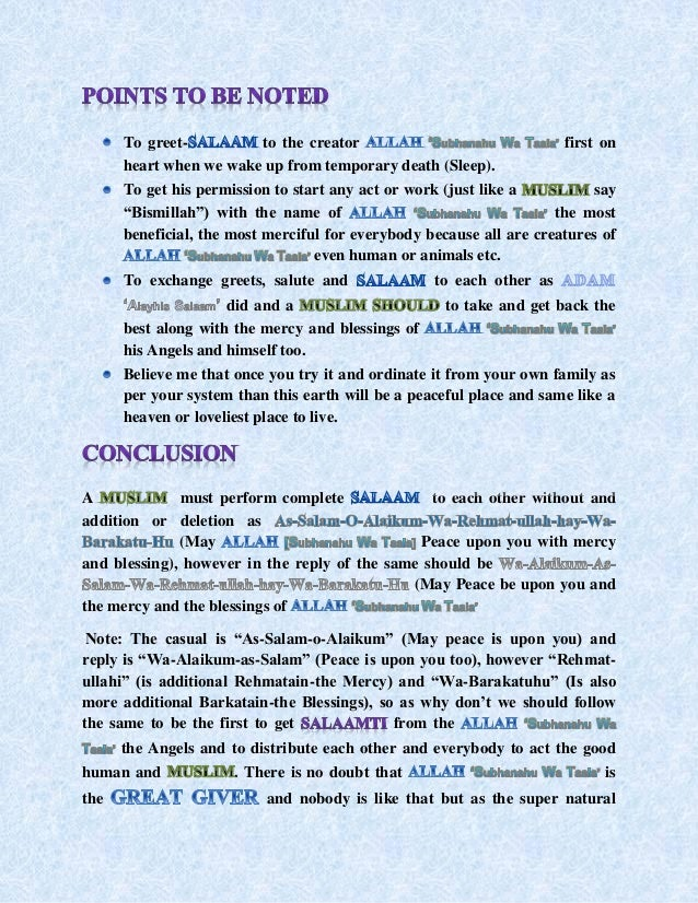 Salaam and its importance in islam 36 m4hsunfo
