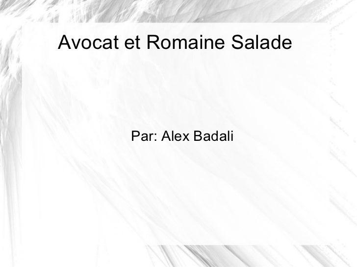 Avocat et Romaine Salade Par: Alex Badali