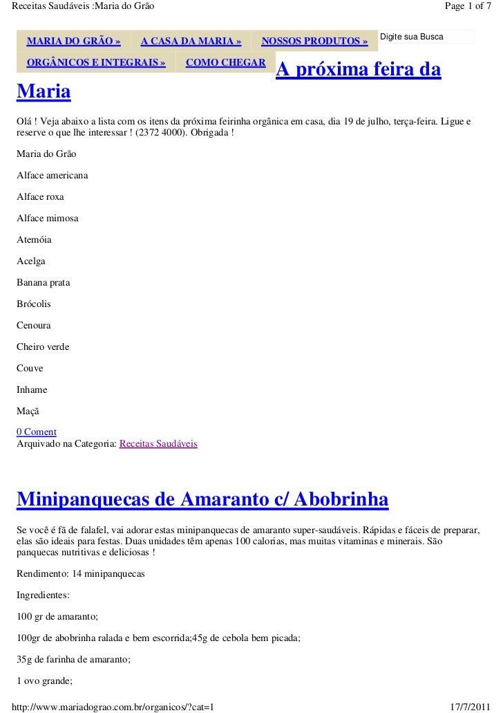 Receitas Saudáveis :Maria do Grão                                                                              Page 1 of 7...