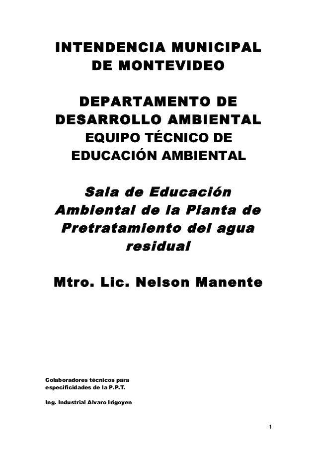 INTENDENCIA MUNICIPAL DE MONTEVIDEO DEPARTAMENTO DE DESARROLLO AMBIENTAL EQUIPO TÉCNICO DE EDUCACIÓN AMBIENTAL Sala de Edu...