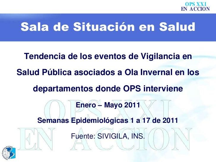 Sala de Situación en Salud<br />Tendencia de los eventos de Vigilancia en Salud Pública asociados a Ola Invernal en los de...