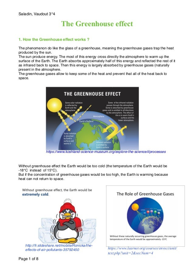 Saladin, Vaudout 3°4 The Greenhouse effect 1. How the Greenhouse effect works ? The phenomenon do like the glass of a gree...