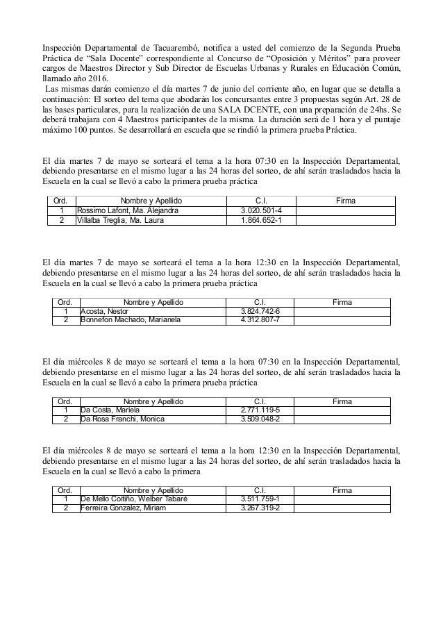 """Inspección Departamental de Tacuarembó, notifica a usted del comienzo de la Segunda Prueba Práctica de """"Sala Docente"""" corr..."""