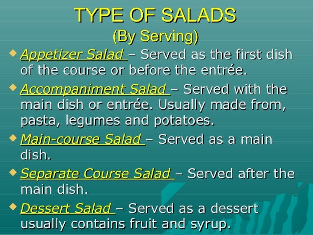 Salads & salad dressing