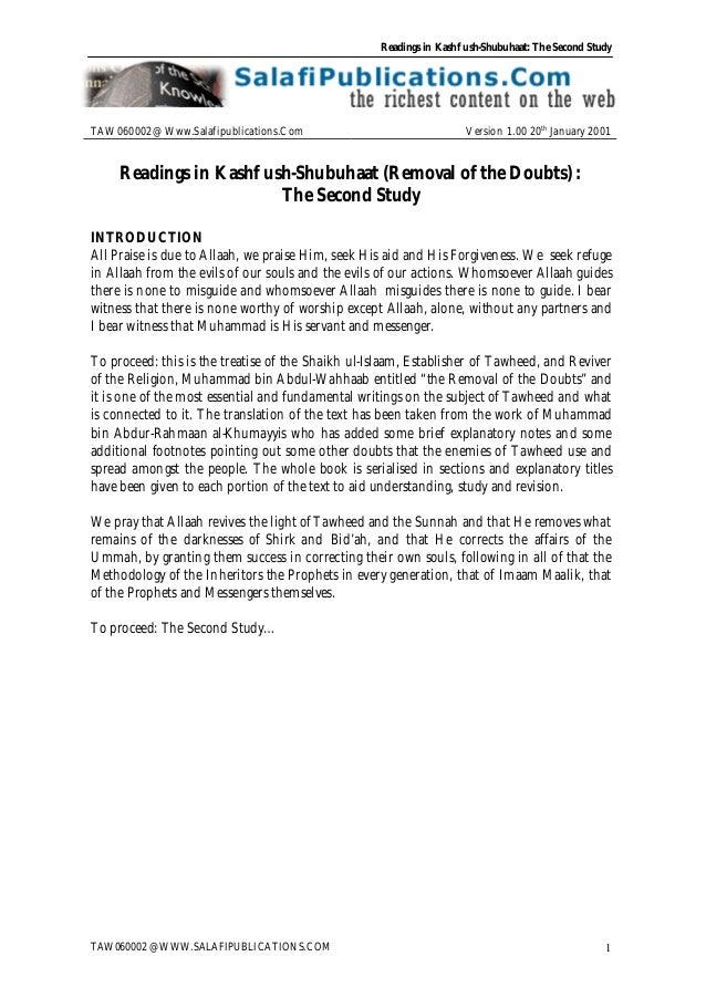 Readings in Kashf ush-Shubuhaat: The Second Study TAW060002 @ WWW.SALAFIPUBLICATIONS.COM 1 TAW060002@ Www.Salafipublicatio...