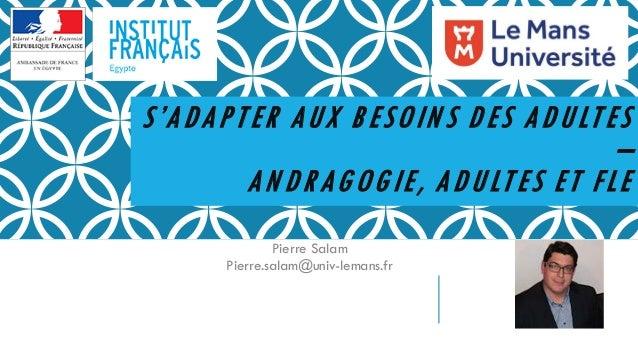 S'ADAPTER AUX BESOIN S DES ADULTES – AN DRAGOGIE, ADULTES ET FLE Pierre Salam Pierre.salam@univ-lemans.fr