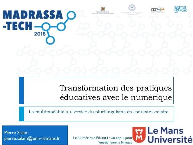 Transformation des pratiques éducatives avec le numérique La multimodalité au service du plurilinguisme en contexte scolai...