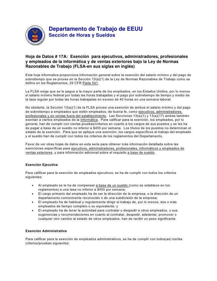 Departamento de Trabajo de EEUU               Sección de Horas y SueldosHoja de Datos # 17A: Exención para ejecutivos, adm...