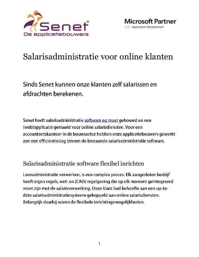 Salarisadministratie voor online klanten  Salarisadministratie software flexibel inrichten ï  1