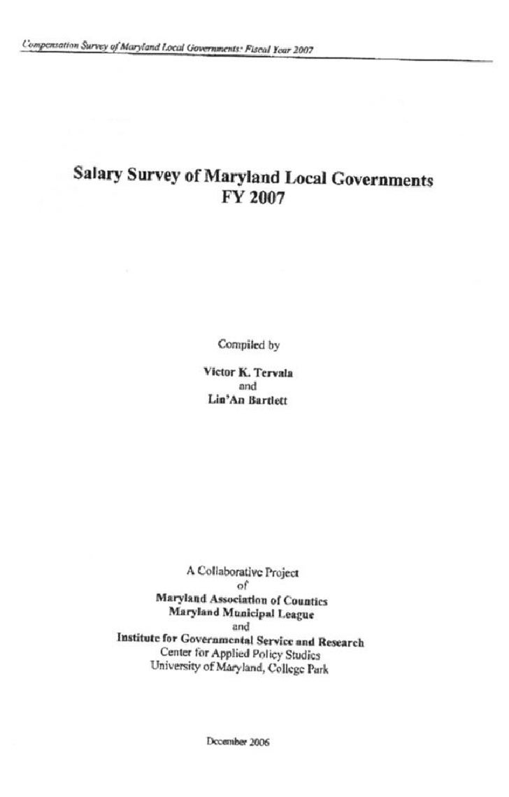 Salary Survey: Maryland Local Governments (2007)