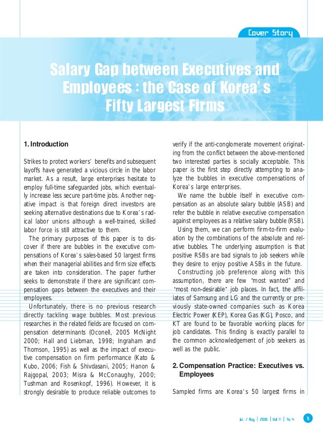 Salary Gap Between Executives and Employees (The Case of Korea's Fifty Largest Firms)