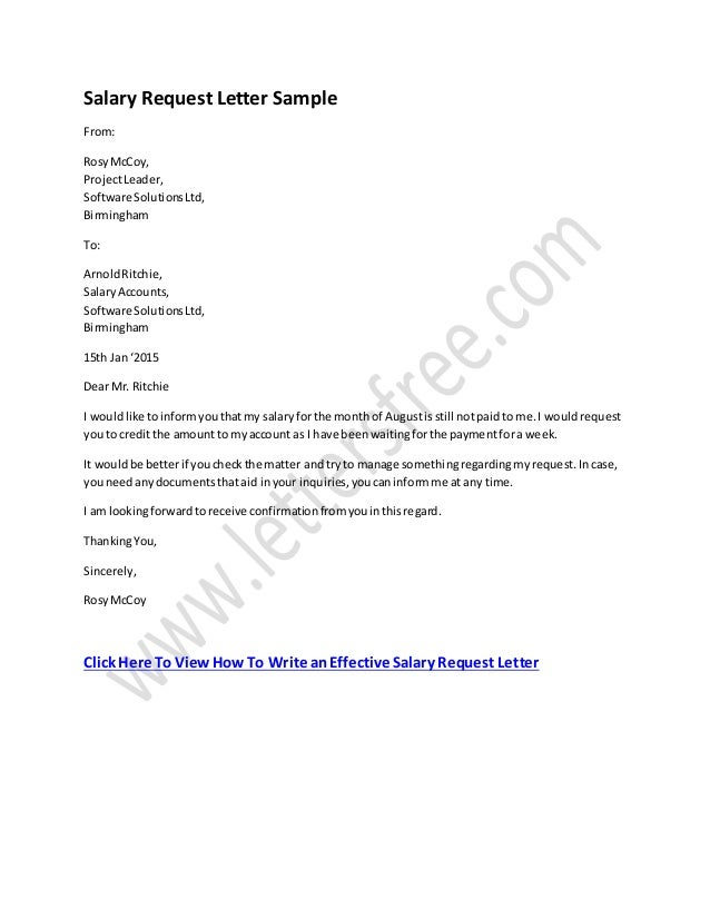 letter asking for pay rise salary request letter format 20895 | salary request letter format 1 638