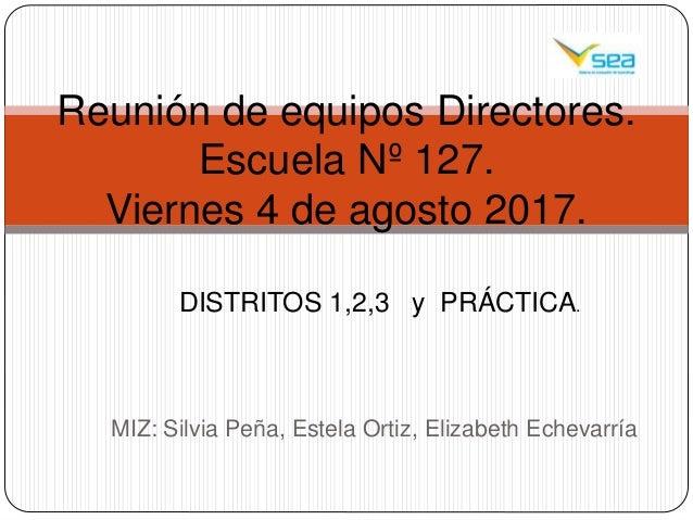 MIZ: Silvia Peña, Estela Ortiz, Elizabeth Echevarría Reunión de equipos Directores. Escuela Nº 127. Viernes 4 de agosto 20...
