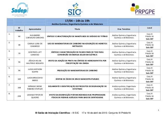 17/04 – 14h às 19h                                         Análise Química, Engenharia Química e de Materiais        ID   ...