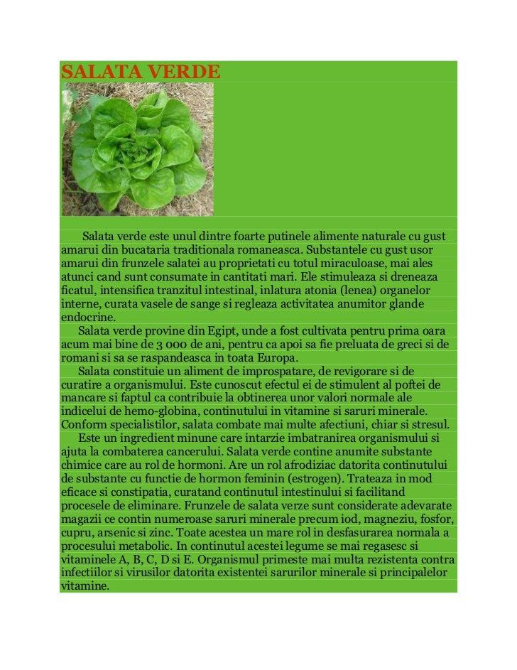 SALATA VERDE     Salata verde este unul dintre foarte putinele alimente naturale cu gustamarui din bucataria traditionala ...