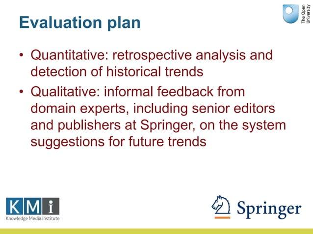 Evaluation plan • Quantitative: retrospective analysis and detection of historical trends • Qualitative: informal feedback...