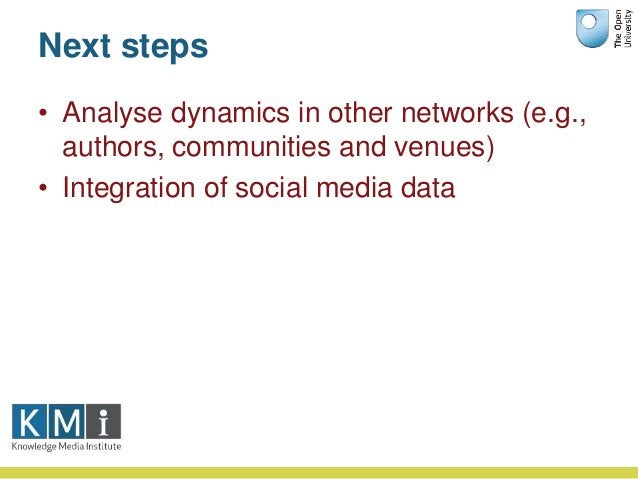 Next steps • Analyse dynamics in other networks (e.g., authors, communities and venues) • Integration of social media data