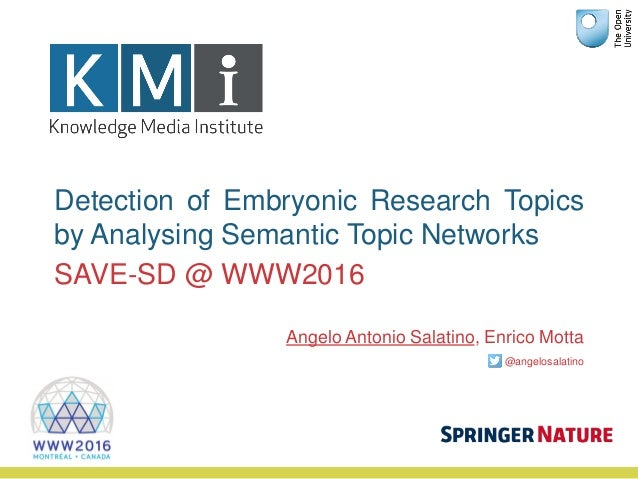Detection of Embryonic Research Topics by Analysing Semantic Topic Networks Angelo Antonio Salatino, Enrico Motta @angelos...