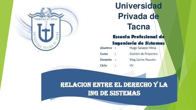 Universidad Privada de Tacna Escuela Profesional de Ingeniería de Sistemas  Alumno :  Hugo Salazar Nina  Curso  :  Gestión...