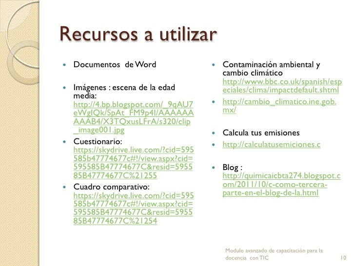 Recursos a utilizar   Documentos de Word                  Contaminación ambiental y                                     ...