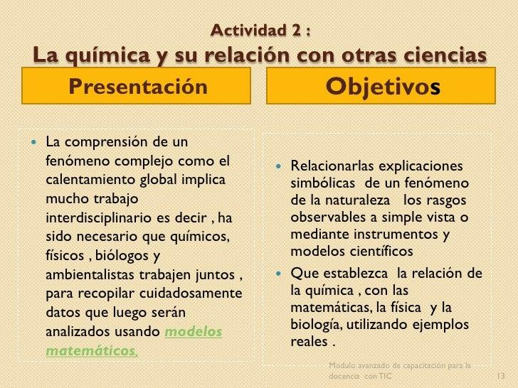 Actividad 2 :La química y su relación con otras ciencias   Presentación            Objetivos   La comprensión de un    fe...