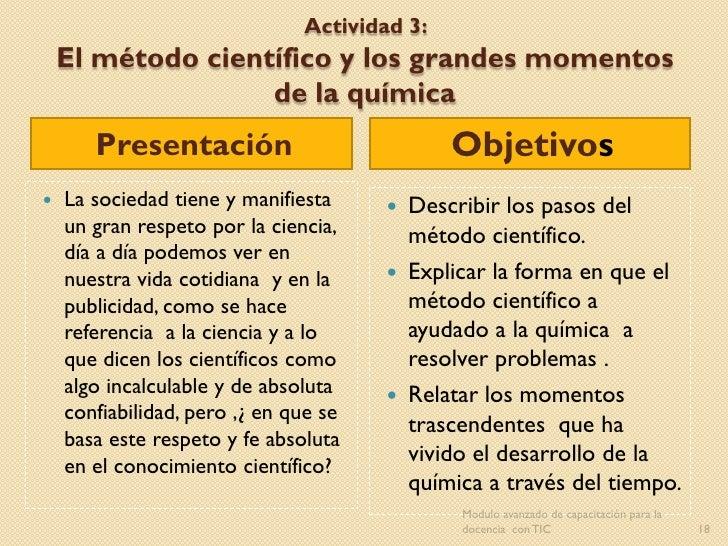 Actividad 3:    El método científico y los grandes momentos                   de la química       Presentación            ...